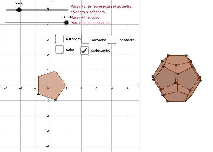 8) Visualice los 5 sólidos platónicos. Presiona Intro para comenzar la actividad