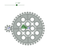 Small gear turning a large gear