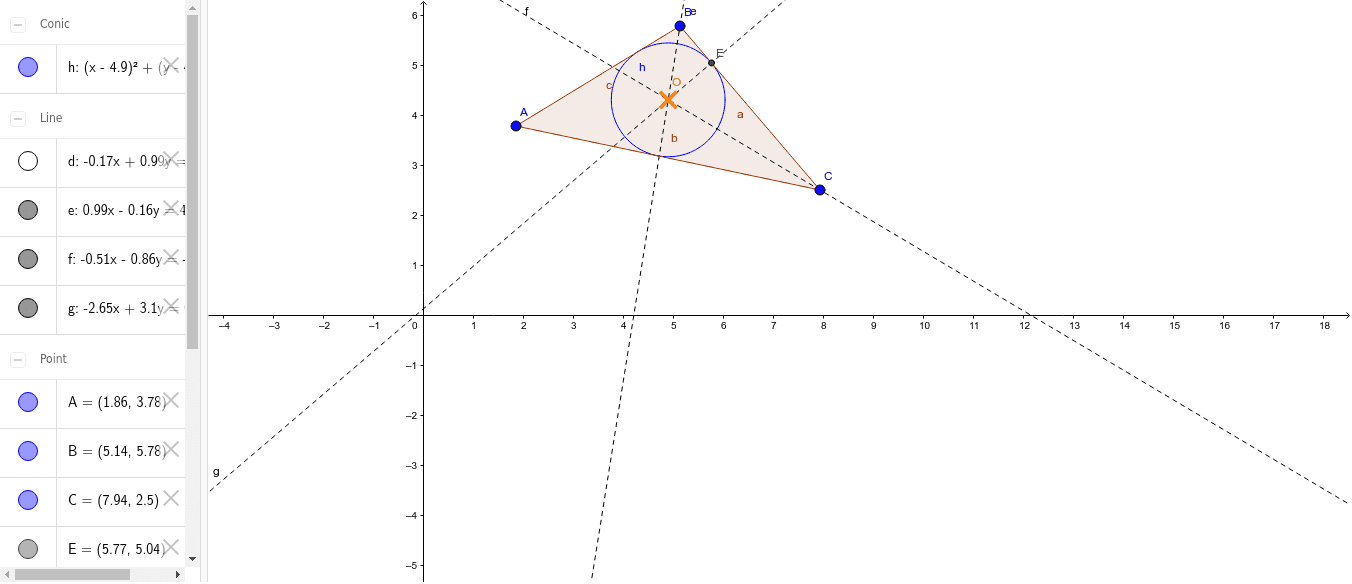 Ej 1. Circunferencia en un Triangulo