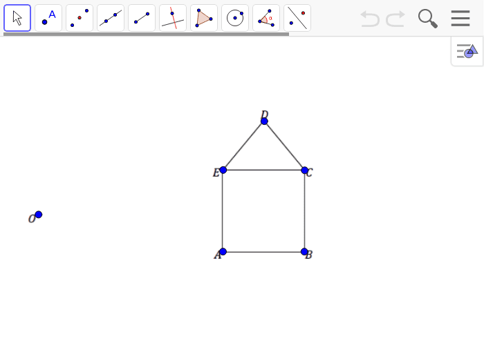 Example 1:  Create a scale drawing of the figure below using the ratio method about center O and scale factor r = 1/2