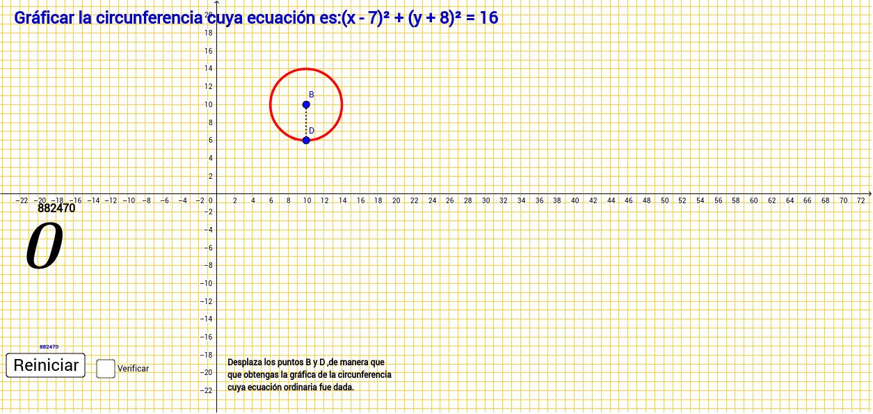 Gráficar  la Circunferencia y su Ecuación ordinaria. Presiona Intro para comenzar la actividad