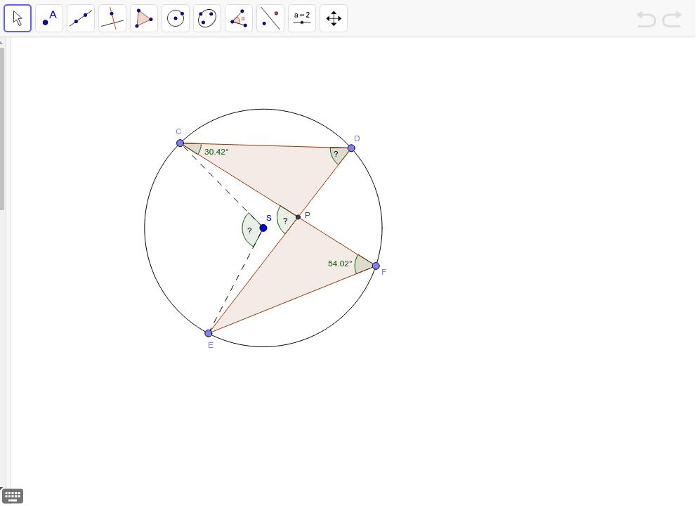 Na obrázku je kružnica k so stredom S. Určte veľkosť uhlov: CDE, CPE a CSE.