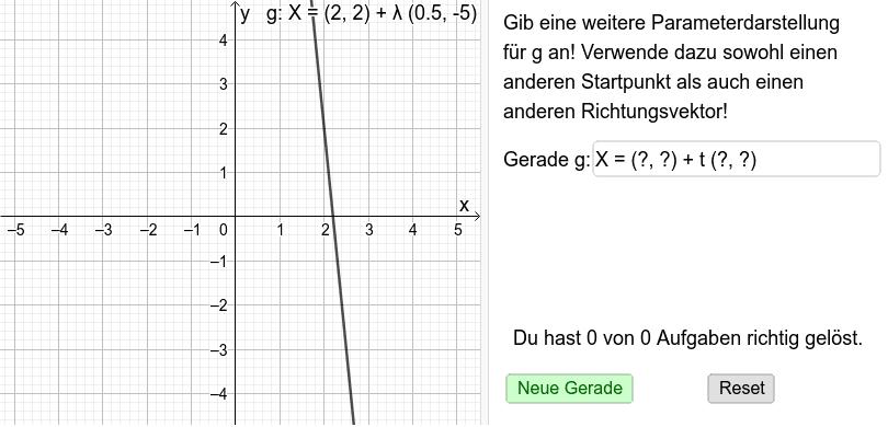 Geradentrainer 1: Parameterdarstellungen