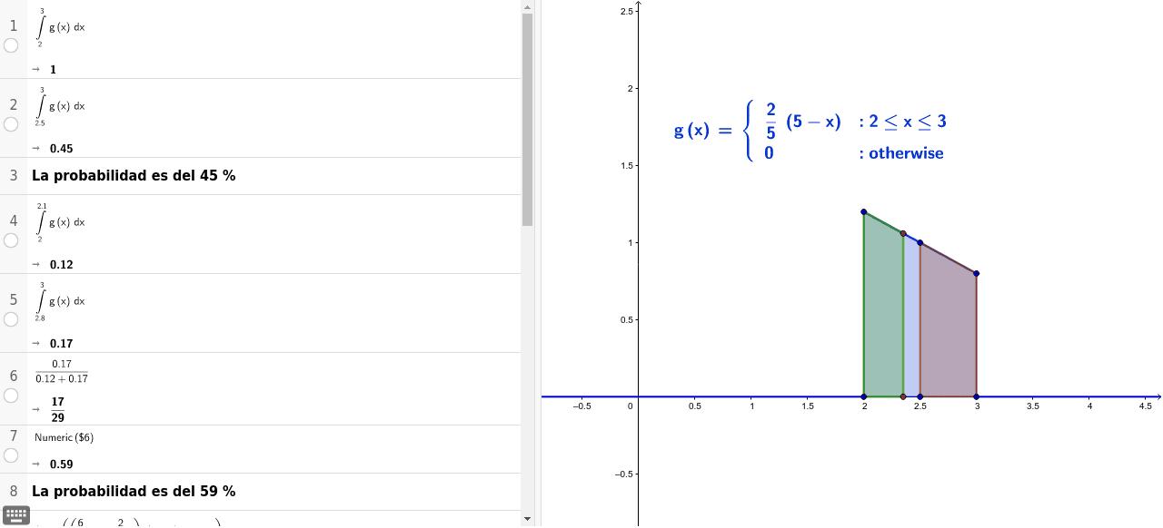 Nos dan la función de densidad y nos piden los parámetros y algunas probabilidades. Utilizamos la vista CAS.
