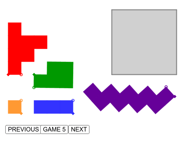 """Which pattern is behind this puzzles serie? Could you build a sample for GAME 6? Try to generalize the numerical pattern for any """"GAME n"""" and proof your idea is right! Press Enter to start activity"""