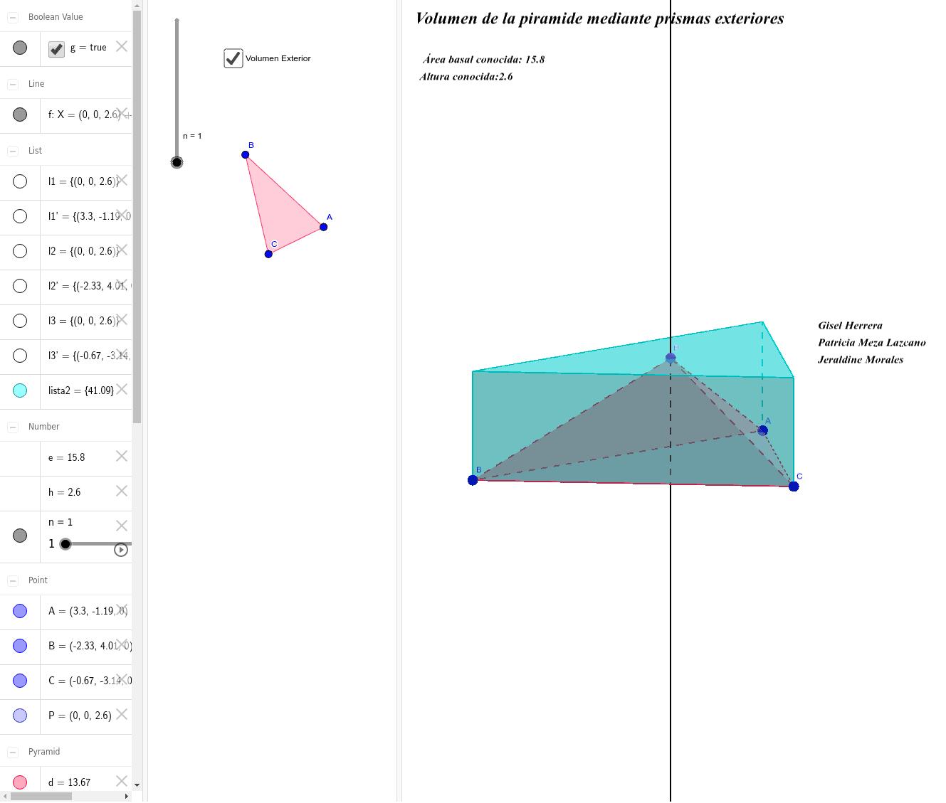 Volumen de una pirámide mediante aproximación por exceso de prismas II Presiona Intro para comenzar la actividad