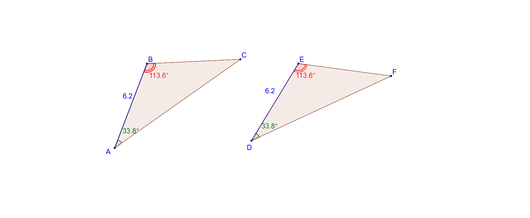 Drag any point on triangle ABC to resize the triangle. Study what happens to triangle DEF when you resize triangle ABC. Also try to coincide (put one triangle on top of the other) and see if they match up. Press Enter to start activity