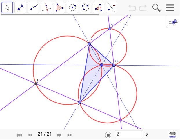 EFGは自由に動かせる。でも、△ABCは必ず正三角形になる。Dからの3線は60度になっている。だから正三角形になるのは当然。