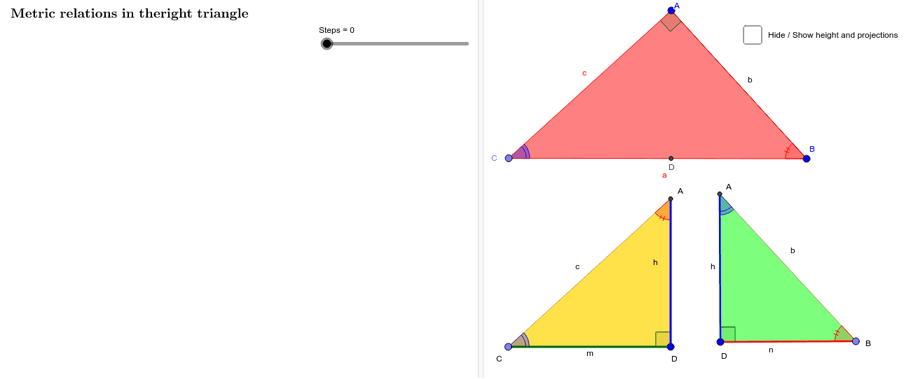 Metric relations in the right triangle Press Enter to start activity