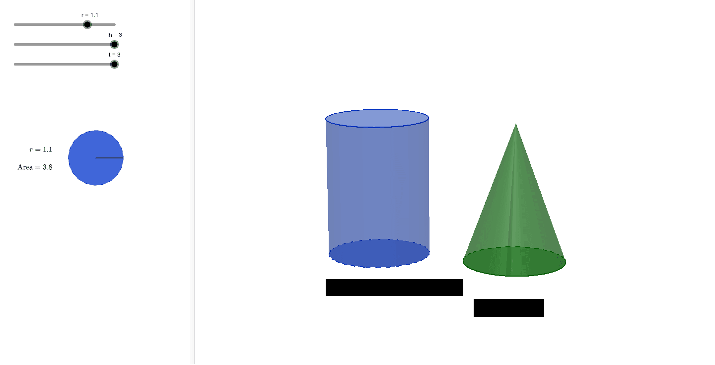 Use the sliders to change the radius (r) and height (h) of the cylinder and the cone.  What is the relationship between the volumes of the cylinder and the cone when they have the same radius and height measurements?   Press Enter to start activity