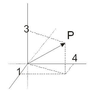 1. Gib die Koordinaten des Vektors P an,