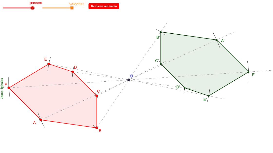 Construcció d'un polígon simètric mitjançant simetria central (punt).