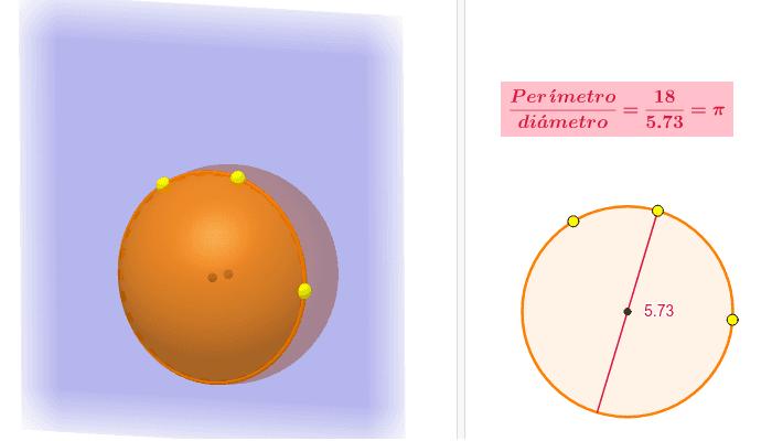 Mueve los puntos amarillos en la vista 3D y obtén nuevas circunferencias