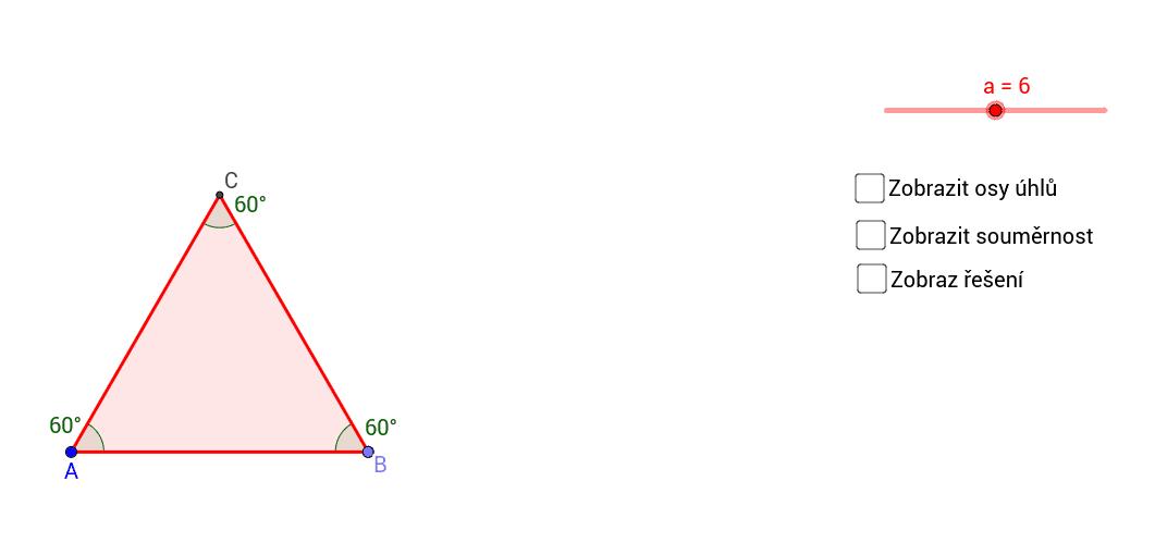 Sestrojte rovnostranný trojúhelník ABC se stranou a = 6cm. Pak sestrojte osy všech jeho vnitřních úhlů. Protínají se v jednom bodě? Jsou tyto osy také osami stran trojúhelníku?