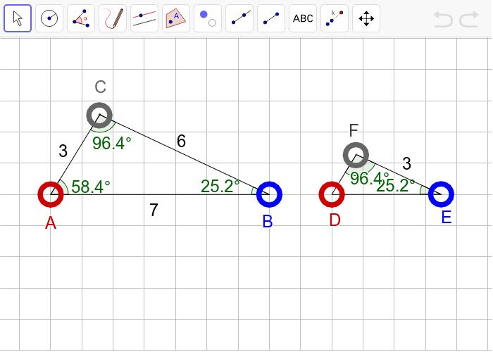 """과제4 다음 두 삼각형이 """"확대 또는 축소하여 합동(닮음)""""인지 판단하고, 그 이유를 설명하시오. 활동을 시작하려면 엔터키를 누르세요."""