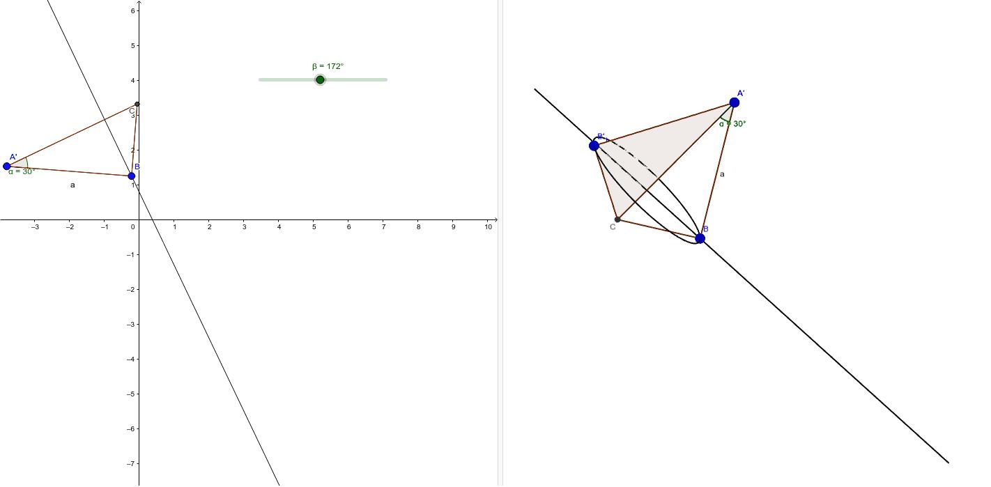 Rotazione di un triangolo rettangolo con un angolo di 30° intorno all'ipotenusa