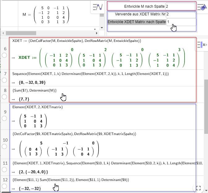 Deternimanten-Entwicklung 4x4 Matrix