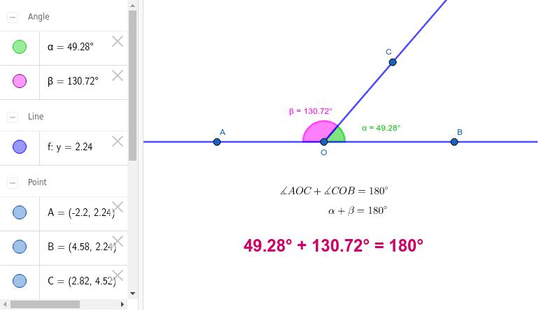 Son dos ángulos adyacentes cuyas medidas suman 180°. En este caso se dice que uno de los ángulos es el suplemento del otro.