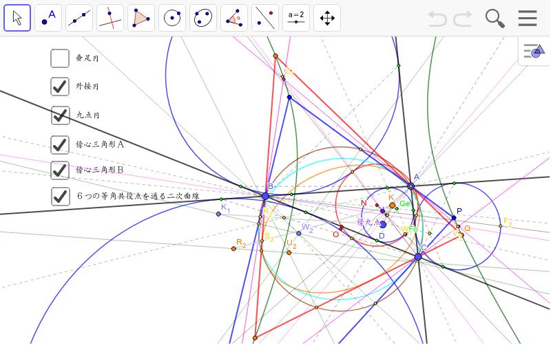 等角共役点どうしを結ぶと2つの外接三角形ができます。この外接三角形に内接する楕円を作図できます。そして、傍接楕円の6つの焦点は一つの二次曲線上にあります。