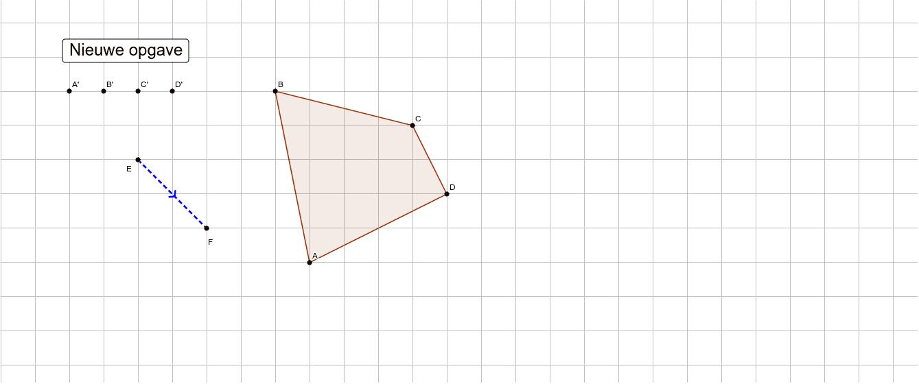 Versleep de punten A', B', C' en D' zodat A'B'C'D' het schuifbeeld is van ABCD volgens vector EF. Klik op Enter om de activiteit te starten
