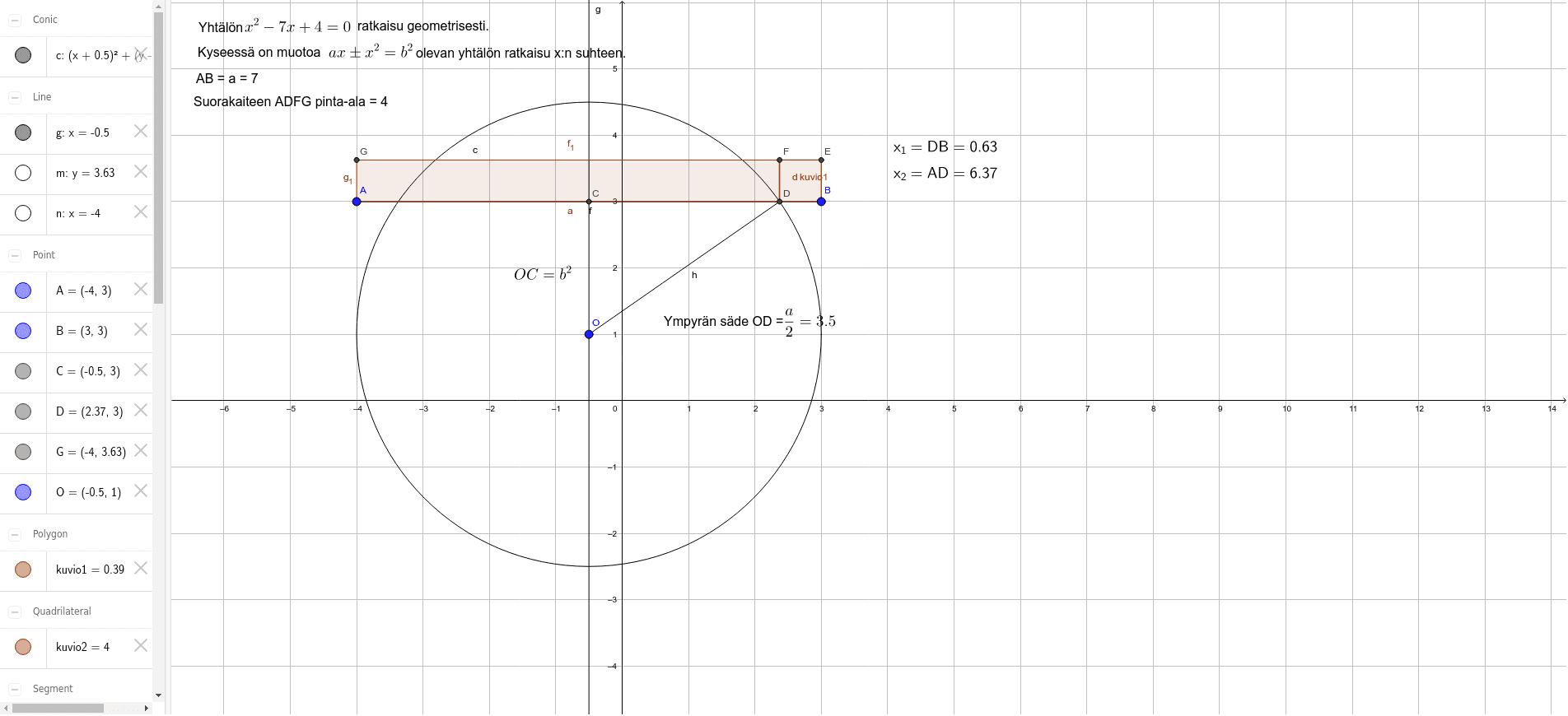 Toisen asteen yhtälön ratkaiseminen geometrisesti
