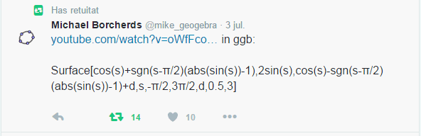 [b]Codi:[/b] Surface[cos(s)+sgn(s-π/2)(abs(sin(s))-1),2sin(s),cos(s)-sgn(s-π/2)(abs(sin(s))-1)+d,s,-π/2,3π/2,d,0.5,3]