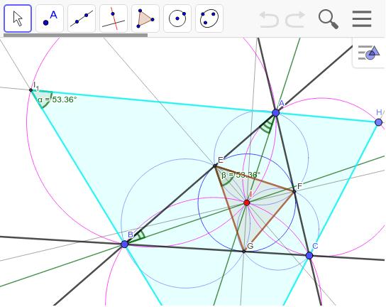 内心Iを中心とする内接三角形と外接三角形が相似であることの証明。