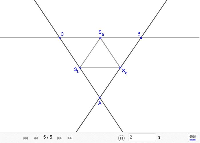 Sestroj trojúhelník, jestliže znáš délky středních příček. Zahajte aktivitu stisknutím klávesy Enter