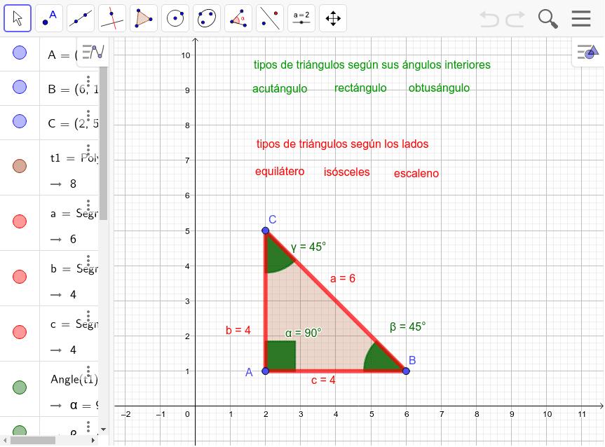Mueve los puntos A, B y C para que observes distintos tipos de triángulos. Practica para ver cómo se nombran según sus ángulos interiores (palabras verdes) y según las longitudes de sus lados (palabras rojas). Presiona Intro para comenzar la actividad