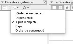 Per veure els diferents objectes per ordre de construcció cliqueu on es mostra a la imatge.