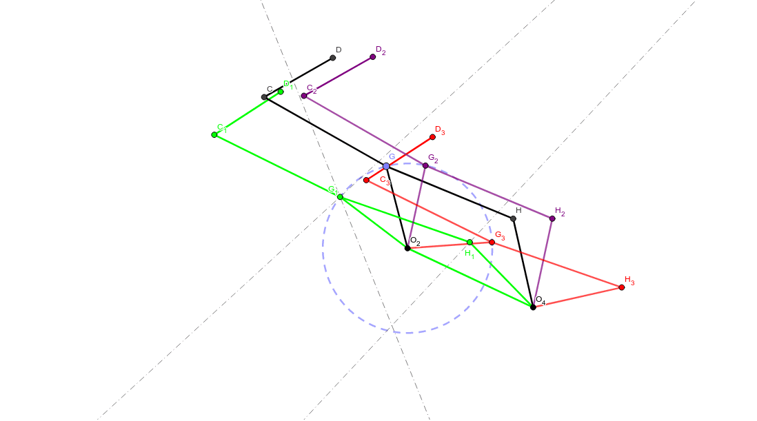 You can see three positions of the mechanism (1-green, 2-Purple and 3-Red) with two fix points specified (O2 and O4).