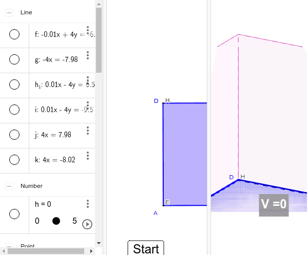 Surface and Volume of one of prism (CUBOID) Press Enter to start activity