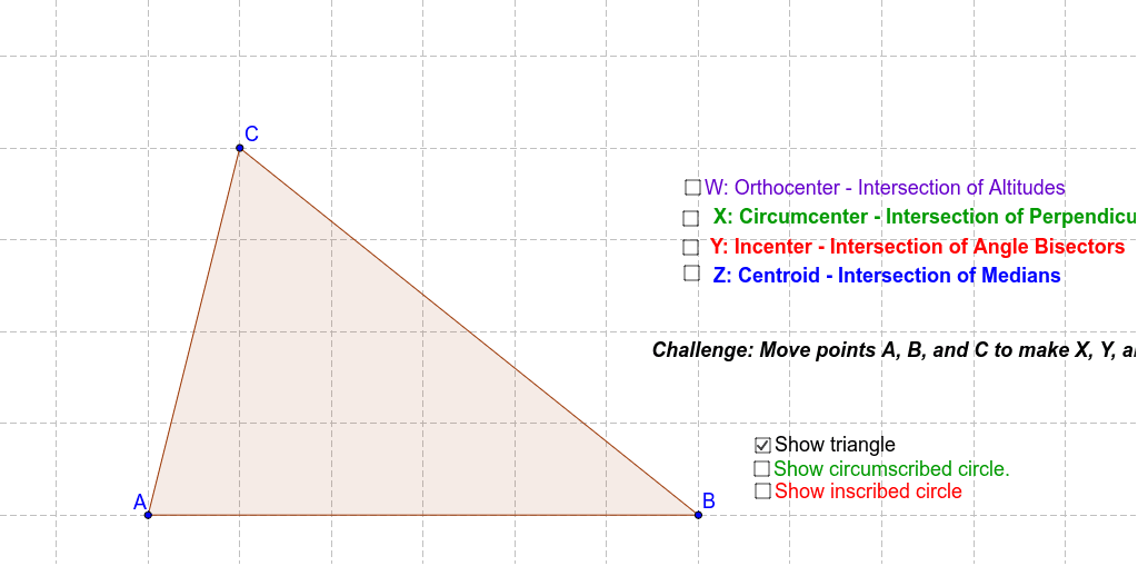 Points Of Concurrency In Triangles Geogebra