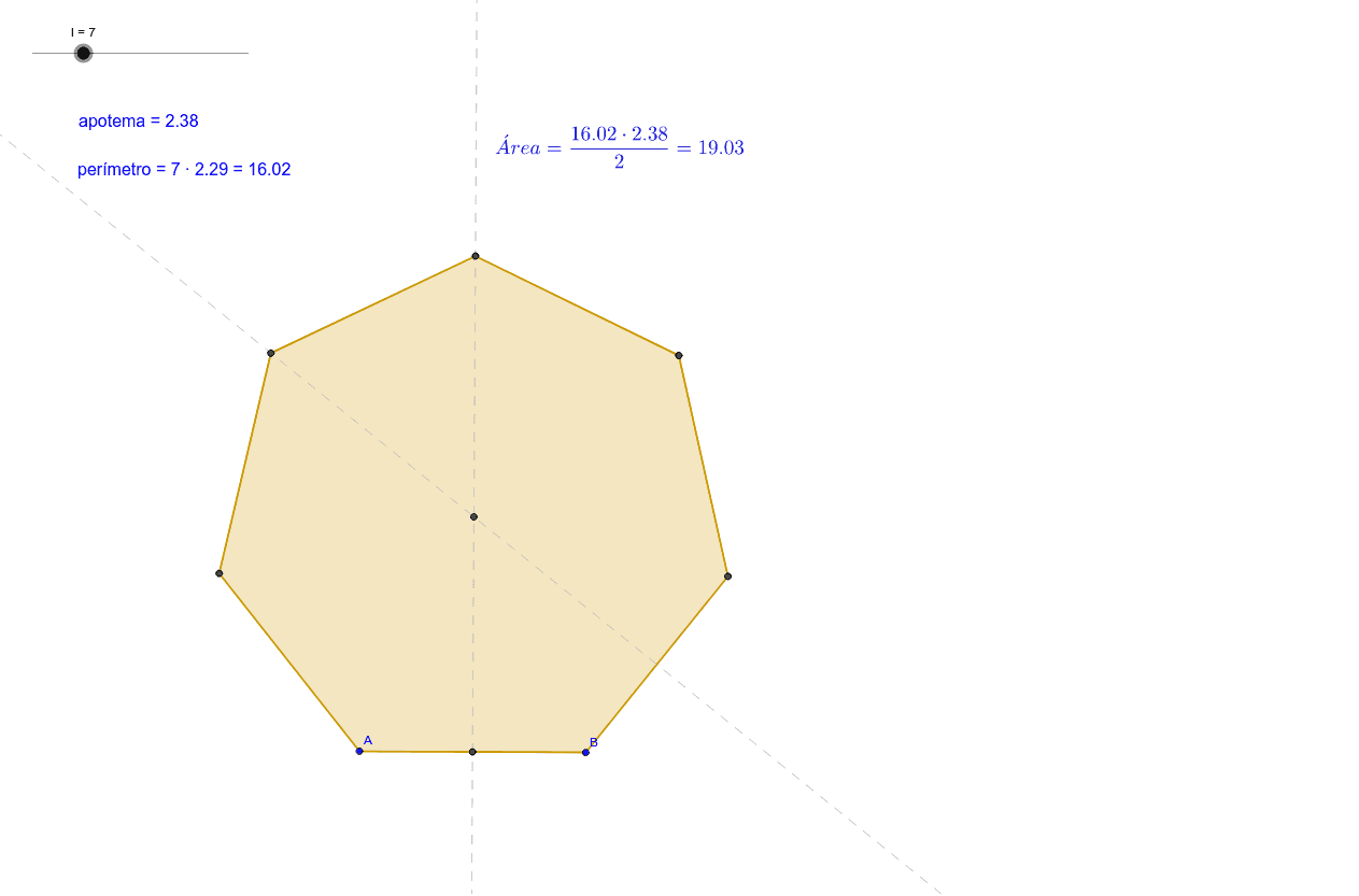 Puedes seleccionar el número de lados del polígono con el deslizador de arriba, y modificar las dimensiones moviendo los puntos A y B