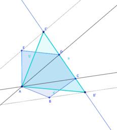 Triángulo equivalente a un polígono convexo