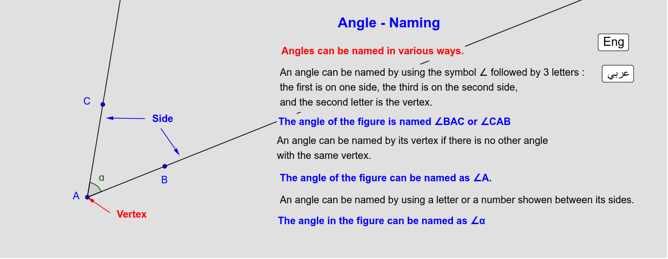 Naming Angle   تسمية الزاوية Press Enter to start activity