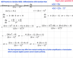 Differentiation using Quotient Rule Self Practice Sheet