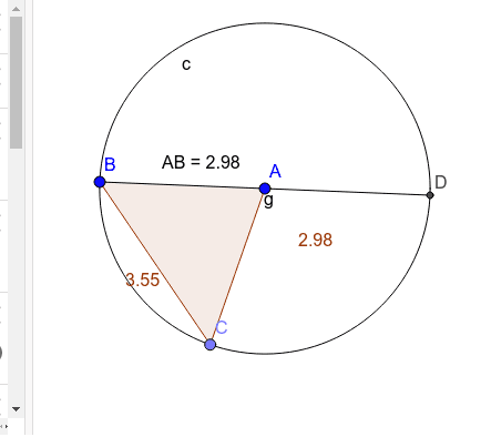 Move point D around the circle.  What invariant is shown? Press Enter to start activity