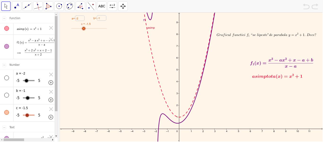 Functii rationale asimptotice la o parabola Apăsați Enter pentru a începe activitatea
