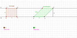 Rectangle and Parallelogram on parallel lines