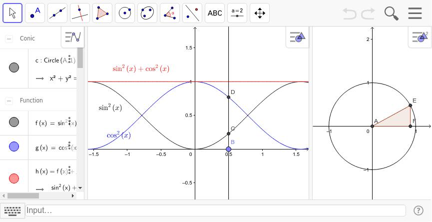 右の小さな直角三角形にピタゴラスの定理を当てはめると、三角関数でピタゴラスの定理を表現できます。 ワークシートを始めるにはEnter キーを押してください。