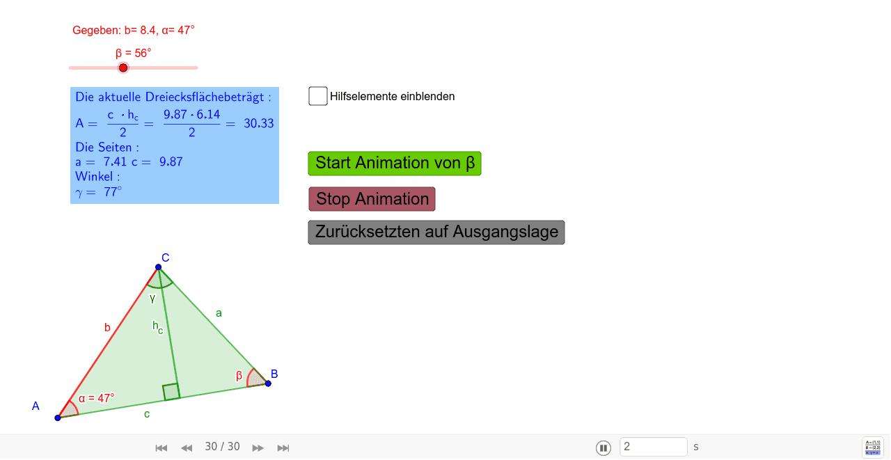 Aufgabenstellung: Konstruieren Sie aus den Vorgaben b= 8.4, α= 47°, β= 56°, ein Dreieck.