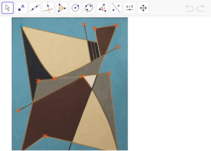 """Définis les segments avec les points déjà placés (croix oranges) et utilise l'outil intersection pour marquer les croisements. Tapez """"Entrée"""" pour démarrer l'activité"""