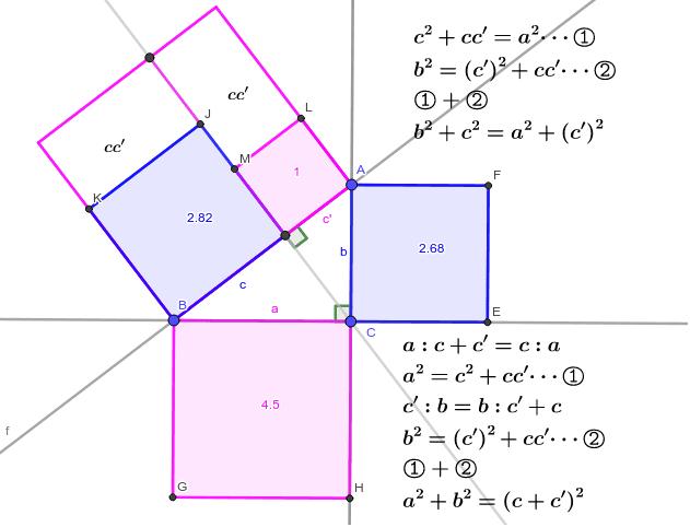 三角形の相似比の式①で左辺と右辺を入れ替えると、右上の式が出てくる。下はその(1)。