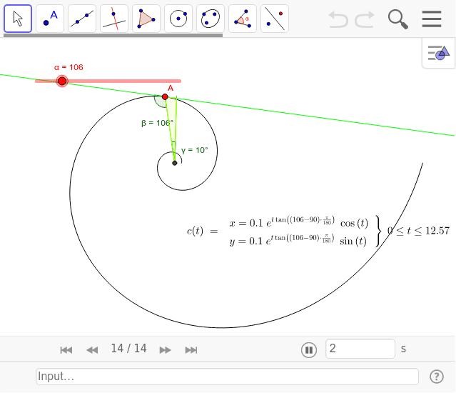 このように中心からの角度が常に一定な曲線を等角らせんと言います。したがってこの曲線は拡大しても同じ形で相似です。貝は等角らせんを描いて成長します。また式が対数で表されるので対数らせんとも言います。 ワークシートを始めるにはEnter キーを押してください。