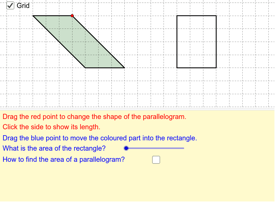 Area Of Parallelograms Geogebra