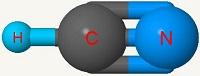 Imagen de una molécula de cianuro de hidrógeno.