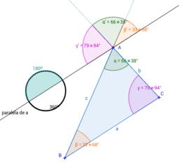Los ángulos del triángulo suman 180º