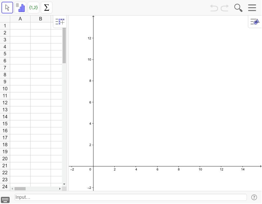 """Fenêtre classique avec la configuration tableur pour les statistiques Tapez """"Entrée"""" pour démarrer l'activité"""