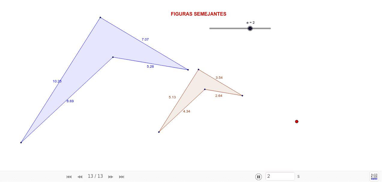 Mueve el punto negro del deslizador para cambiar la razón de semejanza de la figura azul con respecto a la rosa Press Enter to start activity
